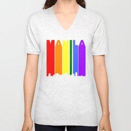Manila Philippines Gay Pride Rainbow Skyline Unisex V-Neck