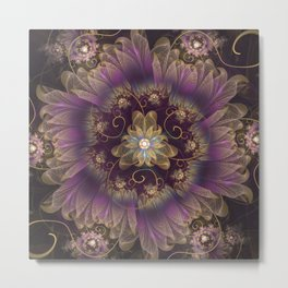 Bohemian Ruffled Feathers & Lavender Gypsy Flowers Metal Print