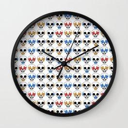 Cute Skulls No Evil II Pattern Wall Clock