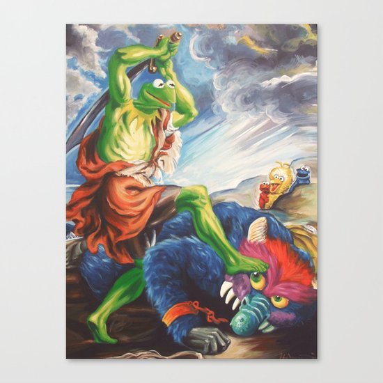 Kermit Slaying His Pet Monster Canvas Print