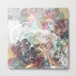 Colorful spots with ornament. Abstract grunge fantasy background Metal Print