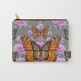 GREY MONARCH BUTTERFLIES PINK ROSES ON GREY ART Carry-All Pouch