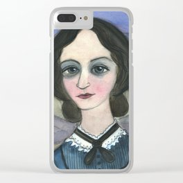 "Charlotte Bronte Writers Portrait, ""Charlotte on the Moors"" Clear iPhone Case"