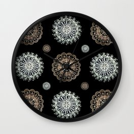 Rose Gold and Silver Mandala Textile on Black Wall Clock