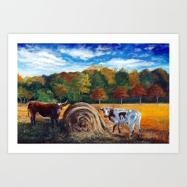 Cows eating hay Art Print