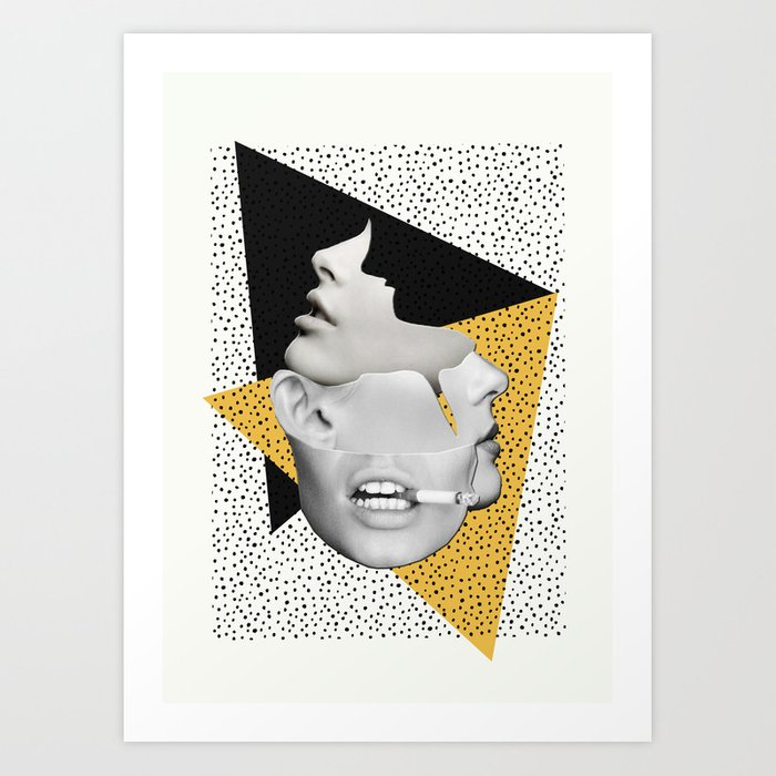 collage art / Faces Art Print