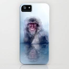 Macaque (Low Poly Ice Snow Monkey) iPhone Case