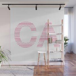 Typographic CA - Magenta Wall Mural