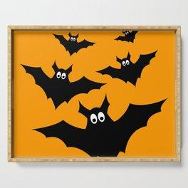 Cool cute Black Flying bats Halloween Serving Tray
