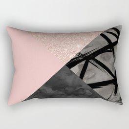 Modern pastel pink black strokes watercolor color block Rectangular Pillow