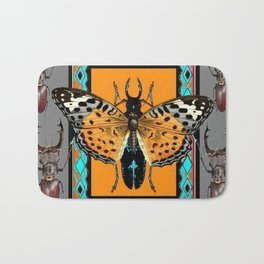 CONTEMPORARY  BUTTERFLY GREY STAG-HORNED BEETLES Bath Mat