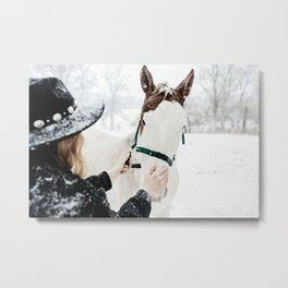 Horsey Girl in Snow Metal Print