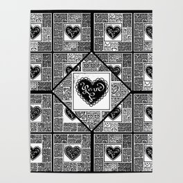 Big hearted Love (black and white) Poster