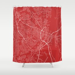 Fayetteville Map, USA - Red Shower Curtain
