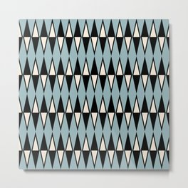 Mid Century Modern Diamond Pattern Black and Blue 233 Metal Print