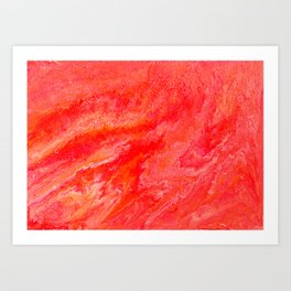 On Fire - Bright Red, Orange Abstract Flame Painting Art Print