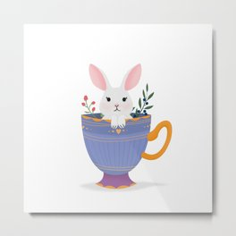 Bunny in a cup Metal Print