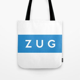 Zug region switzerland country flag name text swiss Tote Bag