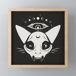 Goth Cat Skull With Third Eye And Moon Phases Framed Mini Art Print