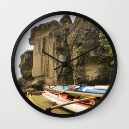Outriggers By Massive Rocks in Exotic Marquesas Islands Wall Clock