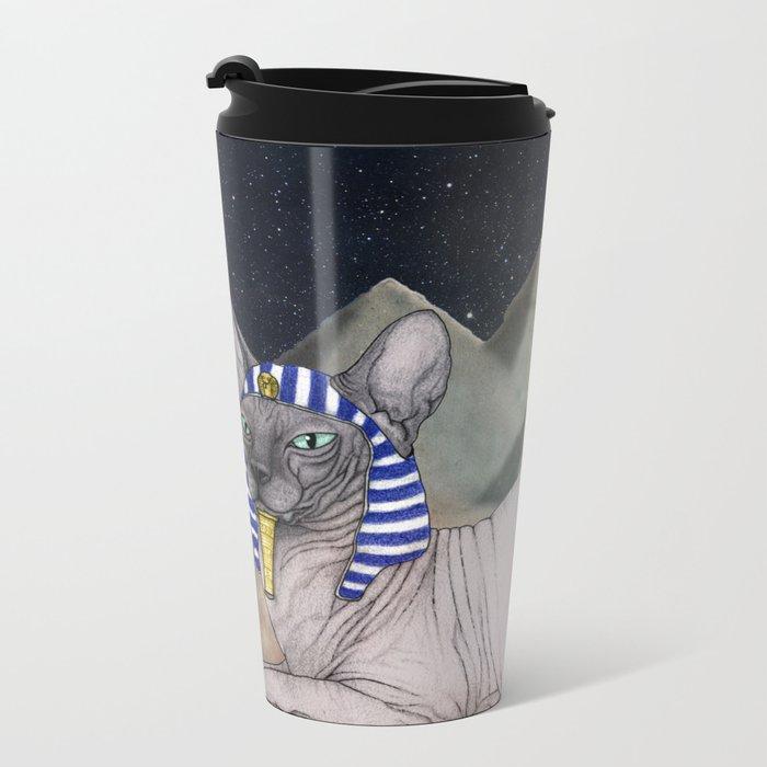 Sphynx Cat (space bg) Metal Travel Mug
