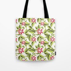 Red on green Tote Bag