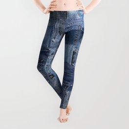 Blue Jeans Pocket Patchwork Pattern Leggings