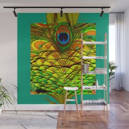 TEAL PEACOCK FEATHERS GOLDEN  DESIGN Wall Mural
