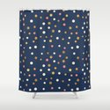 Hipster navy blue faux gold glitter modern polka dots by pink_water