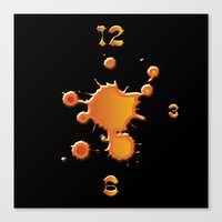 "wall clock Canvas Prints featuring wall clock ""splash"" by Christian Haberäcker - acryl abstract"
