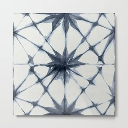 Shibori Starburst Indigo Blue on Lunar Gray Metal Print