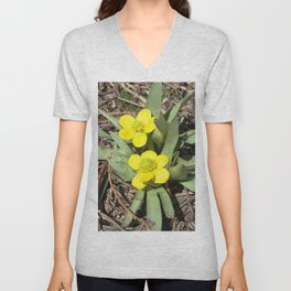 Watercolor Flower, Sagebrush Buttercups 02, RMNP, Colorado, Happy For Sure! Unisex V-Neck