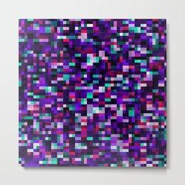 Purple pixel noise static pattern Metal Print