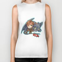 hiccup Biker Tanks featuring Httyd 2 - Chibi Hiccup and Toothless by ibahibut