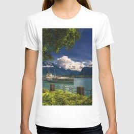 Lake Thun Switzerland mountain landscape Alps pleasure boat motor ship Oberhofen T-shirt