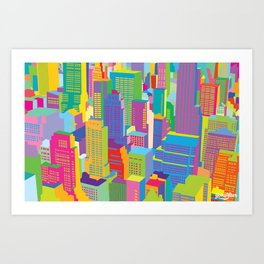 Cityscape windows Art Print