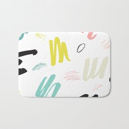 Abstract pink teal black hand painted brushstrokes Bath Mat