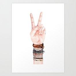 Peace Hand Symbol Art Print