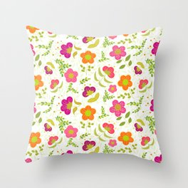 Bright Rounded Flowers on Bed of Pale Green Leaves (pattern) Throw Pillow