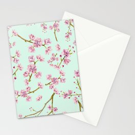 Spring Flowers - Mint and Pink Cherry Blossom Pattern Stationery Cards