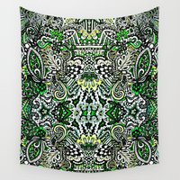 green pattern Wall Tapestries featuring Green Pattern by Marcela Caraballo