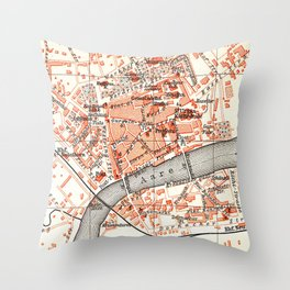 Vintage Map of Solothurn Switzerland (1913) Throw Pillow
