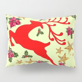 DECORATIVE LEAPING RED DEER  & HOLY BERRIES CHRISTMAS  ART Pillow Sham