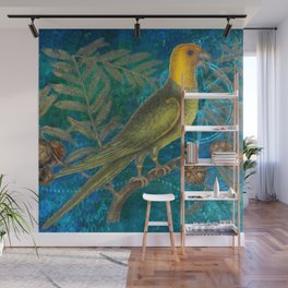 Carolina Parakeet with Cypress, Antique Natural History and Botanical Wall Mural