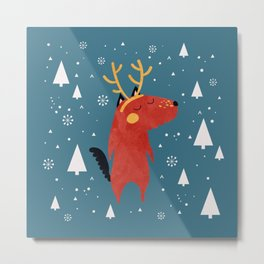 Merry Christmas Dog Card 2 Metal Print