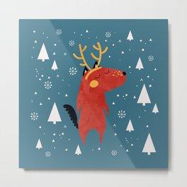 Merry Christmas Dog Card 2 Metal Print