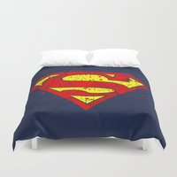 supergirl Duvet Covers featuring Super Man's Splash by Sitchko Igor