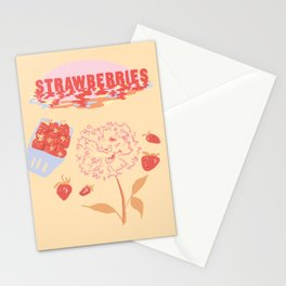 Strawberry Vintage Poster Stationery Cards
