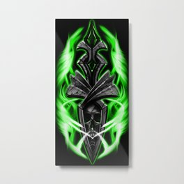 Skull ornament green Metal Print