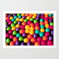gumball Art Prints featuring Rainbow Candy: Gumballs by Whimsy Romance & Fun